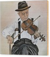 Old Time Fiddler Wood Print