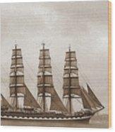 Old Time Schooner Wood Print