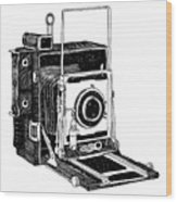 Old Timey Vintage Camera Wood Print by Karl Addison
