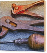 Old Tools Wood Print