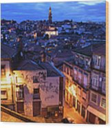 Old Town Of Porto In Portugal At Dusk Wood Print
