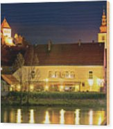 Old Town Of Ptuj Evening Riverfront View Wood Print