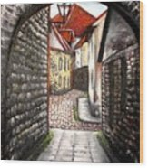Old Town Oil Paining Wood Print