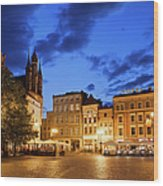 Old Town Square By Night In Torun Wood Print