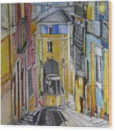 Old Town Streets Wood Print