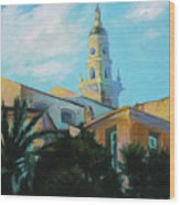 Old Town Tower In Menton Wood Print