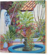 Old Town Water Fountain Wood Print