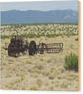 Old Tractor And Rake In New Mexico Wood Print