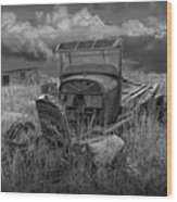 Old Truck Abandoned In The Grass In Black And White At The Ghost Town By Okaton South Dakota Wood Print