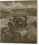 Old Truck Abandoned In The Grass In Sepia Tone Wood Print