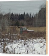 Old Truck And A Moose Wood Print