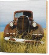 Old Truck In Field Wood Print