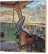 Old Truck Interior Nevada Desert Wood Print