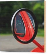 Old Truck Mirror Reflection Wood Print