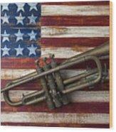 Old Trumpet On American Flag Wood Print