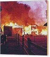 Old Tucson Arizona In Flames 1995  Wood Print