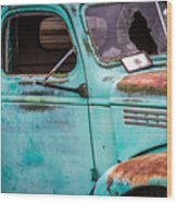 Old Turquoise Truck Wood Print