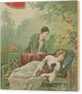 Old Victorian Era Valentine Card Wood Print