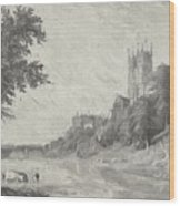 Old View Of Durham Cathedral Wood Print