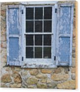 Old Village Window With Blue Shutters Wood Print