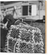 Old Vintage Hand Made Rope Lobster Pot Used In Fishing Industry Wood Print