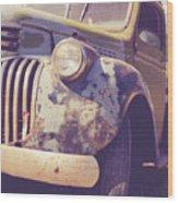 Old Vintage Pickup Truck Utah Square Wood Print