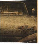 Old Vintage Plymouth Car Hood Wood Print
