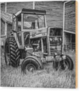 Old Vintage Tractor On A Farm In New Hampshire Square Wood Print