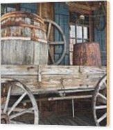 Old Wagon And Barrell Wood Print
