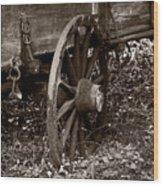 Old Wagon Wheel Wood Print