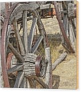 Old Wagon Wheels From Montana Wood Print