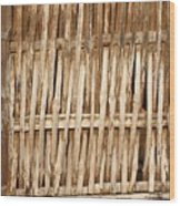 Old Wall Made From Bamboo Slats Wood Print