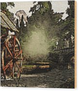 Old Watermill In The Forest Wood Print