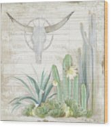 Old West Cactus Garden W Longhorn Cow Skull N Succulents Over Wood Wood Print