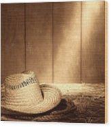 Old West Farmer Hat Wood Print