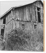 Old West Virginia Barn Black And White Wood Print