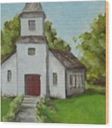 Old White Church In The Texas Hill Country Wood Print