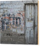 Old White Door In A Wall Wood Print