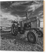 Old White Tractor In The Field Wood Print