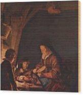 Old Woman Cutting Bread Wood Print