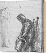 Old Woman In Chair Wood Print