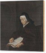 Old Woman Meditating, Gabriel Metsu, C. 1661 - C. 1663 Wood Print