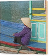 Old Woman On A Colorful River Boat Wood Print