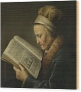 Old Woman Reading Wood Print