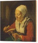 Old Woman Unreeling Threads 1665 Wood Print