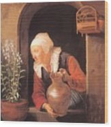 Old Woman Watering Flowers 1665 Wood Print