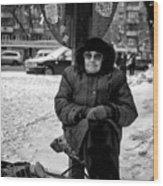 Old Women Selling Woollen Socks On The Street Monochrome Wood Print