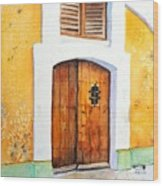 Old Wood Door Arch And Shutters Wood Print