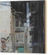 Old Wood Door In A Wall Wood Print