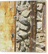 Old Wood Door Window And Stone Wood Print